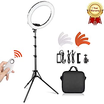 LED Ring Light with 2M Stand for Phone and Camera, TRAVOR 14 inches Outer  45W 5500K/3200K Dimmable w/Filters Carrying Bag for YouTube Vlog Makeup