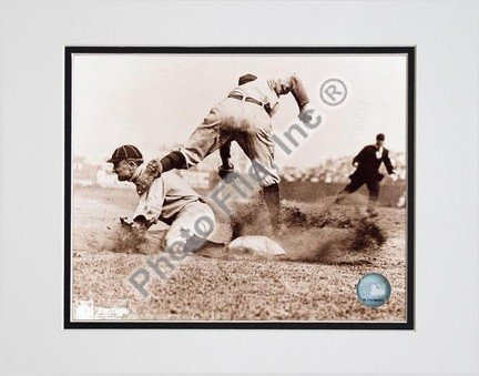 (Ty Cobb, Detroit Tigers, Sliding into Base, Sepia, Double Matted 8