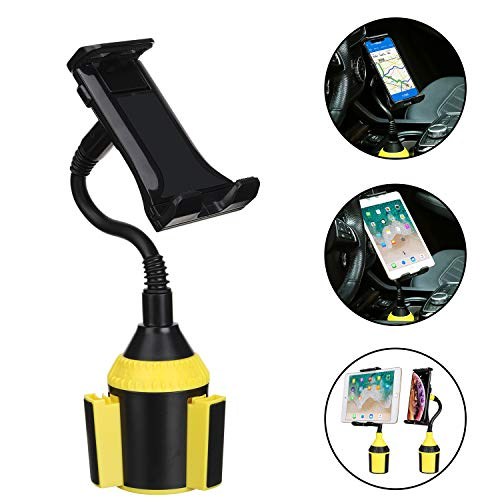 Car Cup Holder Phone Mount, AnsTOP Universal Adjustable Gooseneck Car Holder Cradle Cup Mount for Cell Phone,iPad,iPod,iPhone,Samsung Galaxy,GPS and More (Black&Yellow)