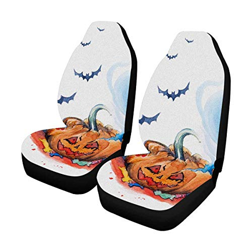 INTERESTPRINT Watercolor Halloween Evil Smile Pumpkin Ghost Bats Front Car Seat Covers Set of 2, Vehicle Seat Protector Car Mat Covers, Fit Most Vehicle, Cars, Sedan, Truck, SUV, -