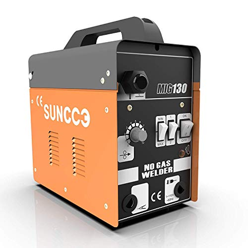 SUNCOO MIG 130 Welder Flux Core Wire Automatic Feed Welding Machine No Gas 110 Volt Portable Little Welder Machine with Mask Yellow