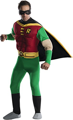 Robin Adult Costumes (DC Comics Deluxe Muscle Chest Robin Adult Costume, Large)