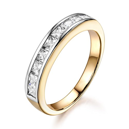 GULICX Emerald Cut Cubic Ziconia Sliver Tone & Yellow Gold Tone Channel Setting Elegant Ring for Women