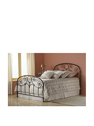 - Fashion Bed Group Grafton Rusty Gold Queen Bed with Metal Scrollwork Panels and Decorative Castings