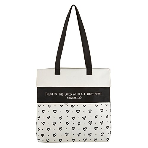 Trust in the Lord Hearts 13.5 x 14 Inch Heavy Canvas Inspirational Tote (Heart Canvas Bag)