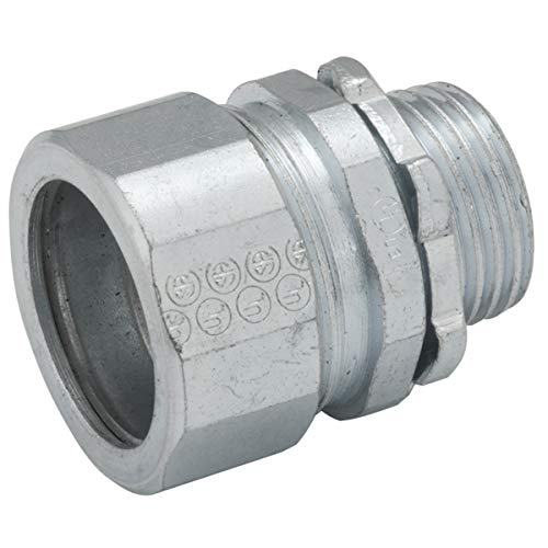 Hubbell-Raco 1808-1 Connector, Compression, 2-Inch Trade Size, Rigid/IMC Conduit, Steel