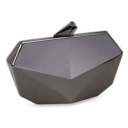 Metallic Fox Face Shaped Hard Case Clutch Evening Handbag w/Detachable Strap - Gunmetal Gray