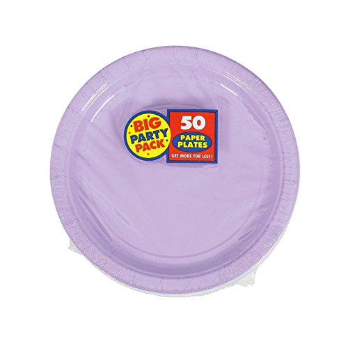 Amscan Big Party Pack 50 Count Paper Dessert Plates, 7-Inch, Lavender