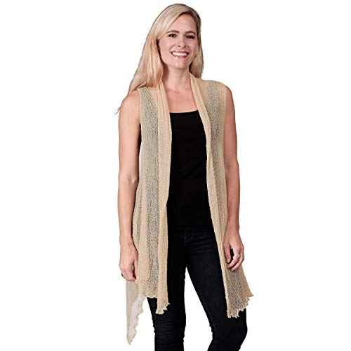 Le Moda Women's Sleeveless Sheer Open Stitch Vest Cardigan | Open Front | One Size (ONE Size, TAN)