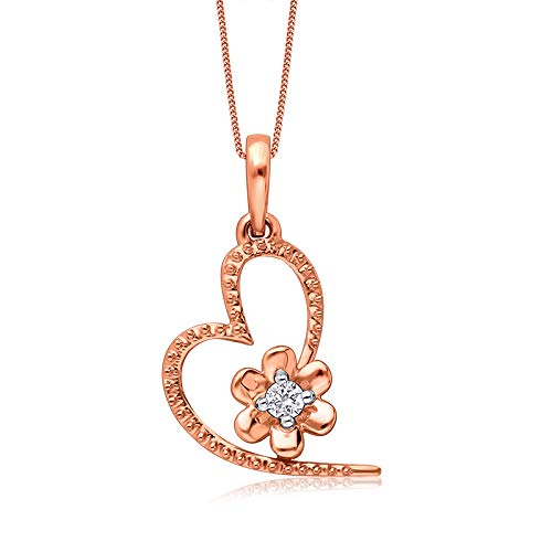Senco Gold 14KT Rose Gold and Diamond Pendant for Girls