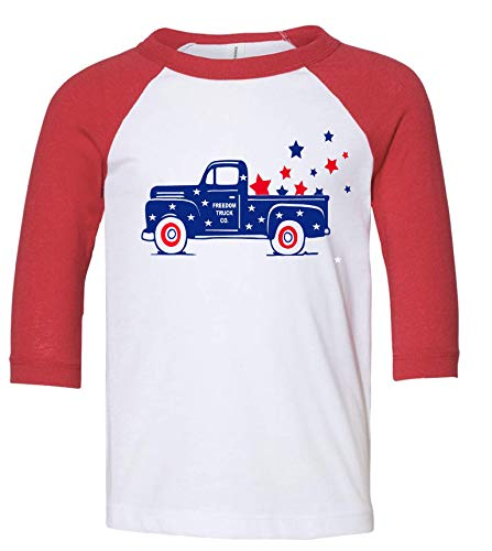 PressedUp Fourth of July Freedom Star Truck 3/4 Sleeve T-Shirt with Youth and Toddler Sizes (L (10/12)) White (4th Of July T Shirts To Make)