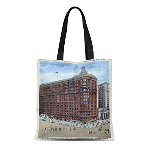 (Semtomn Cotton Line Canvas Tote Bag Skyscraper Schofield Building Cleveland Ohio Architecture Collectible Nostalgic Nostalgia Reusable Handbag Shoulder Grocery Shopping Bags)