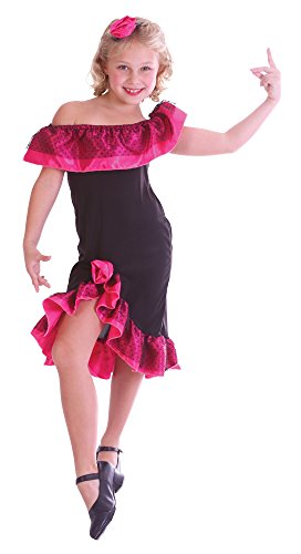 Flamenco Girl Latin Dancer Costume (Medium Black & Pink Girls Flamenco Girl Costume)
