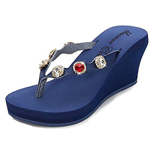 pour Femme Chaussons Bleu FAIRYRAIN Marine BHUITRFETk 61 t1q4n6RTw