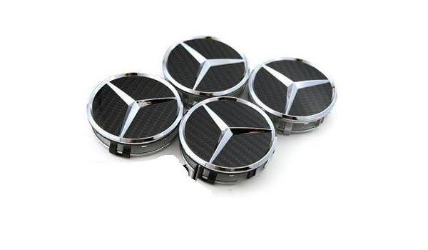 4 tapacubos MERCEDES BENZ, 4 embellecedores de ruedas, tapa llantas, cubos, carbono A, B, C, E, S, M, ML, GL, R, SL, SLK, CL, CLK (75 mm de diámetro): ...