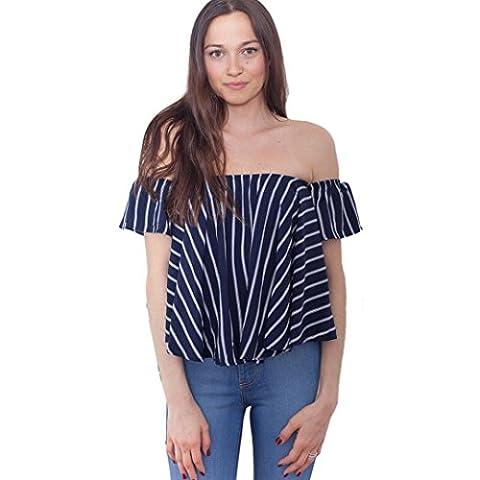 Lisingtool Women's Off Shoulder Stripe Casual Blouse Shirt Tops (L, Blue) - Casual Stripe Pattern Shirts