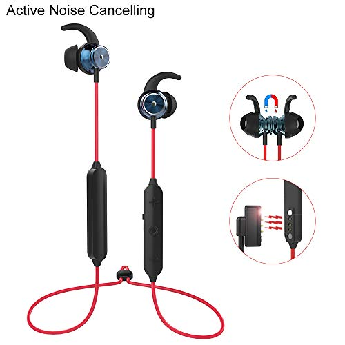 Active Noise Cancelling Bluetooth Headphones, Wireless Earbuds Sport Headsets with Microphone in Ear Magnetic Charging, 30dB Reduction with 10m Operating Range.