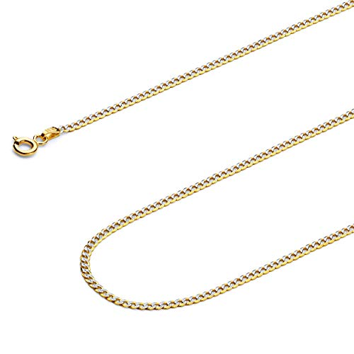 GoldenMine Fine Jewelry Collection 14k Two Tone Gold 2mm Cuban Curb White Pave Chain Necklace with Spring Ring Clasp - 18
