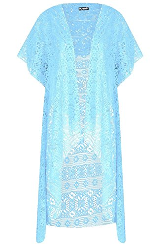 Be Jealous Womens Ladies Crochet Lace Open Front Short Sleeve See Through Raw Edge Cardigan