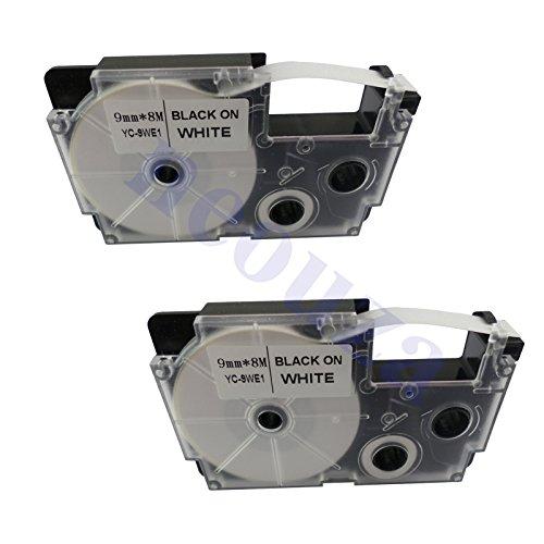 "NEOUZA 2PK Compatible for Casio EZ-Label Tape 9mm x 8m 0.35"" x 26' LABEL IT! (XR-9WE2S Black on White)"