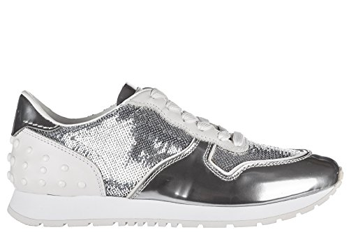Leather Tod's Sportivo Trainers Women's Sneakers allacciata Silver Shoes ZZqEwgT