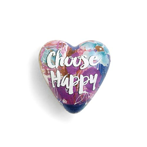 DEMDACO Choose Happy Floral Purple Splash 2 x 2 Resin Stone Art Heart Token Figurine