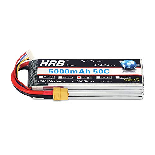 HRB 4S 14.8v 5000mAh 50C Lipo Battery XT60 Connector for RC Airplane, RC Helicopter, RC Car/Truck, RC Boat (6.1 x 1.89 x 1.26 Inch) (Battery Rc Helicopters)