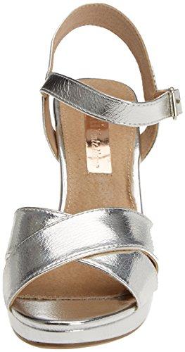 XTI 030546, Sandalias de Tacón para Mujer Plateado (Plata)