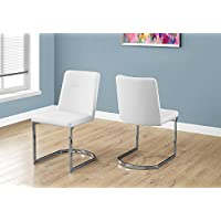 Monarch Specialties I 1082 2 Piece Dining Chair-2PCS/34 H Leather-Look/Chrome, White