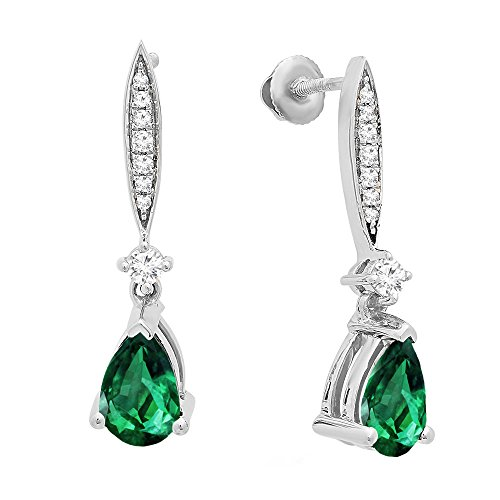 Dazzlingrock Collection 10K 8X5 MM Each Pear Lab Created Emerald & Round Diamond Ladies Dangling Earrings, White Gold