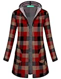 Kimmery Cardigans for Women, Juniors Open Front Cardigan with Double Pockets Business Casual Soft Knitted Sweater Lightweight Long Sleeve Draped Cover up Outwear Outdoor Shirts Red M