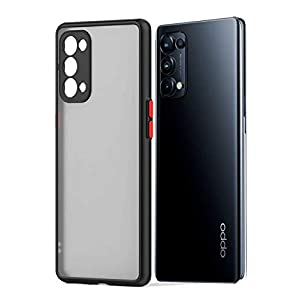 RRTBZ Smoke Translucent Smooth Rubberized Matte Camera Protection Back Case Cover Compatible for (Oppo Reno 6 Pro, Black…