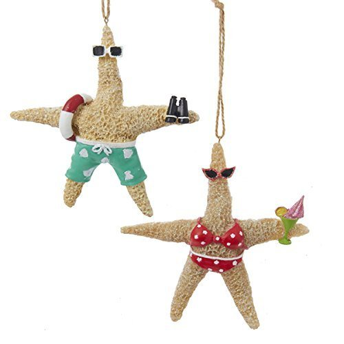 Whimsical Beach Starfish Couple in Swimsuits Christmas Holiday Ornament Set of 2 (By Christmas The Beach)