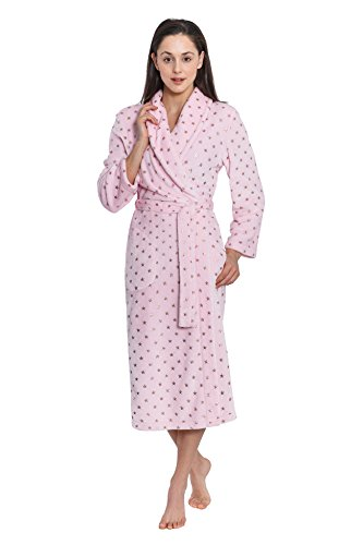 Cozy & Curious Women's Long Foil Print Royal Plush Robe (Pink, Small) Small Polyester Fleece