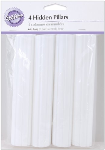 Wilton 303-8 4-Pack Hidden Pillar for Cakes, 6-Inch