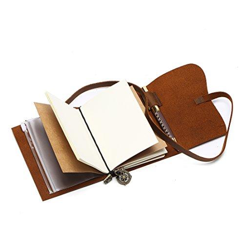 Passport Travelers Notebook Pocket Refillable Leather Journal Amazing Bundle - Small Vintage Genuine Leather Notebook for Writing, Travel Diary, Daily Planner TN 5.4 x 4.3 Pen Holder 3 Papers Zipper