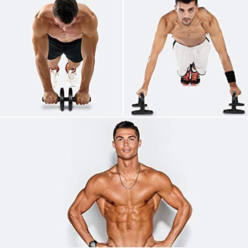 LYCAON Juego de rodillos de rueda Ab 4 en 1 incluye rodillo de rueda Ab, barra de empuje, cuerda de saltar y rodillera, kit de rueda de rodillo para perder peso, fitness, ejercicio músculos abdominales, ejercicio en casa, gimnasio 8