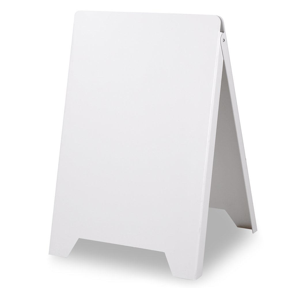 wlethan 19 11/16'' Wx35 13/16'' L Slide-in Folding A-Frame Double-Sided Poster Logo Sidewalk PVC Board Plastic Poster Board Outdoor Advertising - White USA delivery