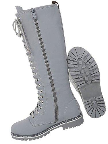 Damen Schuhe Stiefel Schnürer Hellgrau