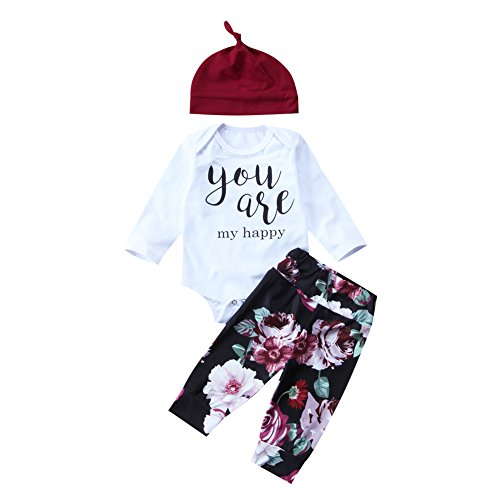 3Pcs Newborn Infant Baby Girl You are My Happy Romper+Floral Pants+Hat Outfit Set (0-3 Months, ()