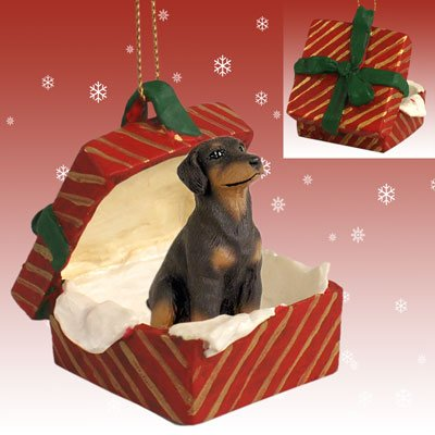 (Conversation Concepts Doberman Pinscher Red w/Uncropped Ears Gift Box Red Ornament)
