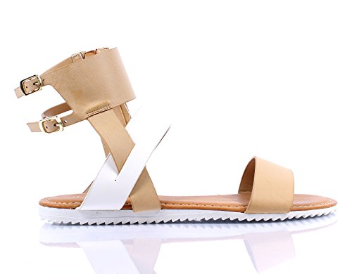 Bamboo Casual Thong Buckle Side Zip Womens Gladiator Summer Sandals Shoes New Without Box Nude Multi Ohc9V0o1NV