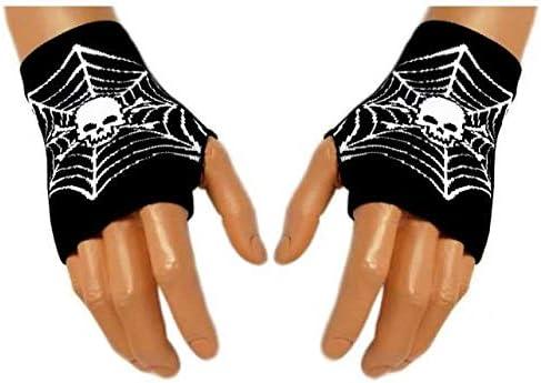 Fingerlose Handschuhe,Handstulpen Netz Totenkopf,Fingerless gloves Skull net,Guantes sin dedos calavera,Cr/âne de gants sans doigts