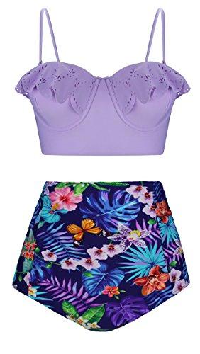 Angerella Ruffled Top Bikini Retro Vintage Style Two Piece Swimsuits High Waisted Bikini Bottom (Purple Floral Bikini)