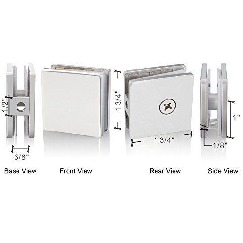 SUNNY SHOWER SVA U-Clamp Clip Glass to Wall Frameless Shower Door Chrome Stainless (Shower Glass Clamps)