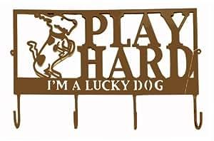 I'm A Lucky Dog Metal Dog Puppy Leash Hooks Rack (Play Hard)