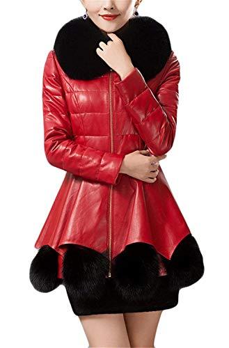 Con Parka Parkas Espesar Chaqueta Fit Mujer Larga Modernas Termica De Slim Elegantes Abrigos Cuero Outerwear Manga Vintage Invierno Cuello Piel Moda Rot RwqCdqY