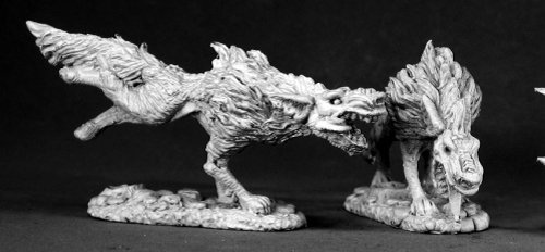 Reaper Miniatures Hell Hounds (2 Pieces) #02522 Dark Heaven Unpainted Metal by Reaper