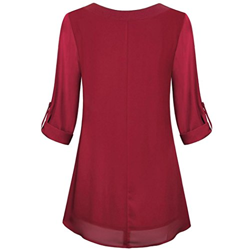 VEMOW Sommer Herbst Damen Roll-up Langarm Chiffon Top V-Ausschnitt Tunika Knopf Layered Casual Tages Party Strand Blusen Pulli Hemd Oberteile Weinrot OBOzhx