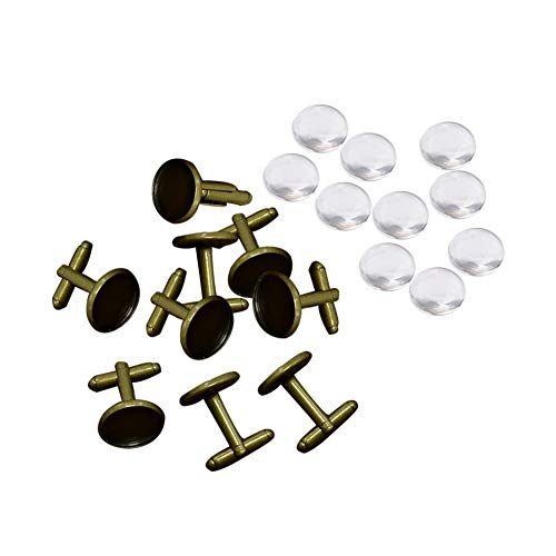 ARRICRAFT 10 Sets Brass Cufflinks Tray Settings with Domed Clear Glass Covers Sets for Picture Cuff Button Making, Tray 14mm, Nickel Free